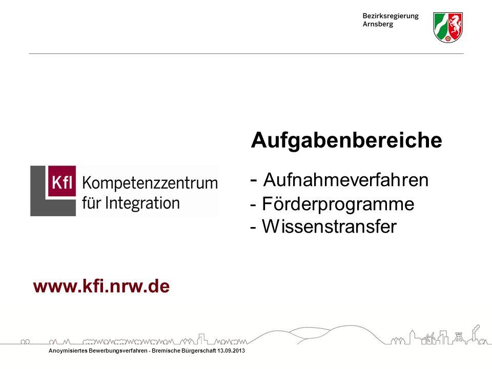 Aufgabenbereiche - Aufnahmeverfahren - Förderprogramme - Wissenstransfer Anoymisiertes Bewerbungsverfahren - Bremische Bürgerschaft 13.09.2013 www.kfi