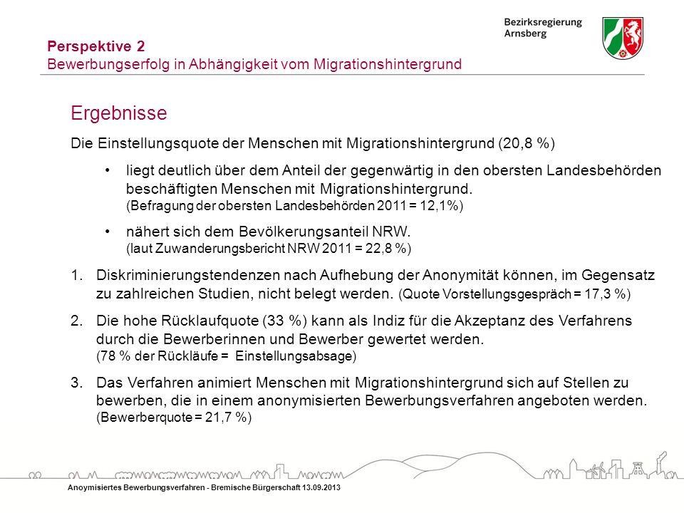 Anoymisiertes Bewerbungsverfahren - Bremische Bürgerschaft 13.09.2013 Ergebnisse Die Einstellungsquote der Menschen mit Migrationshintergrund (20,8 %)