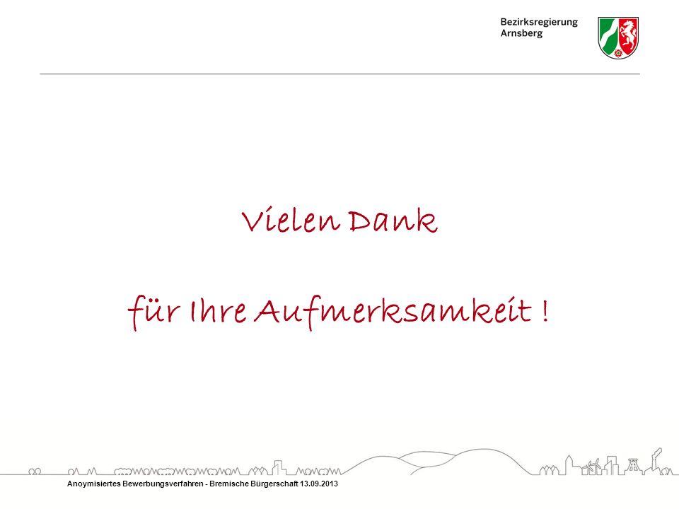 Vielen Dank für Ihre Aufmerksamkeit ! Anoymisiertes Bewerbungsverfahren - Bremische Bürgerschaft 13.09.2013