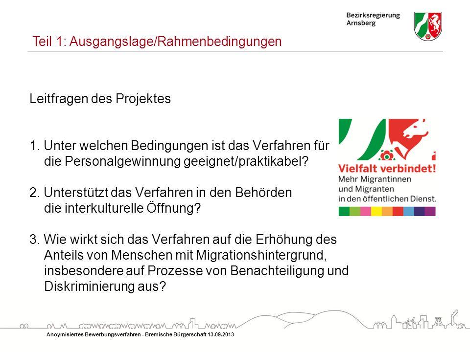 Laufzeit: Januar 2011 bis Juni 2012 15 Einstellungsbehörden Praxisversuch Datenschutz Anoymisiertes Bewerbungsverfahren - Bremische Bürgerschaft 13.09.2013