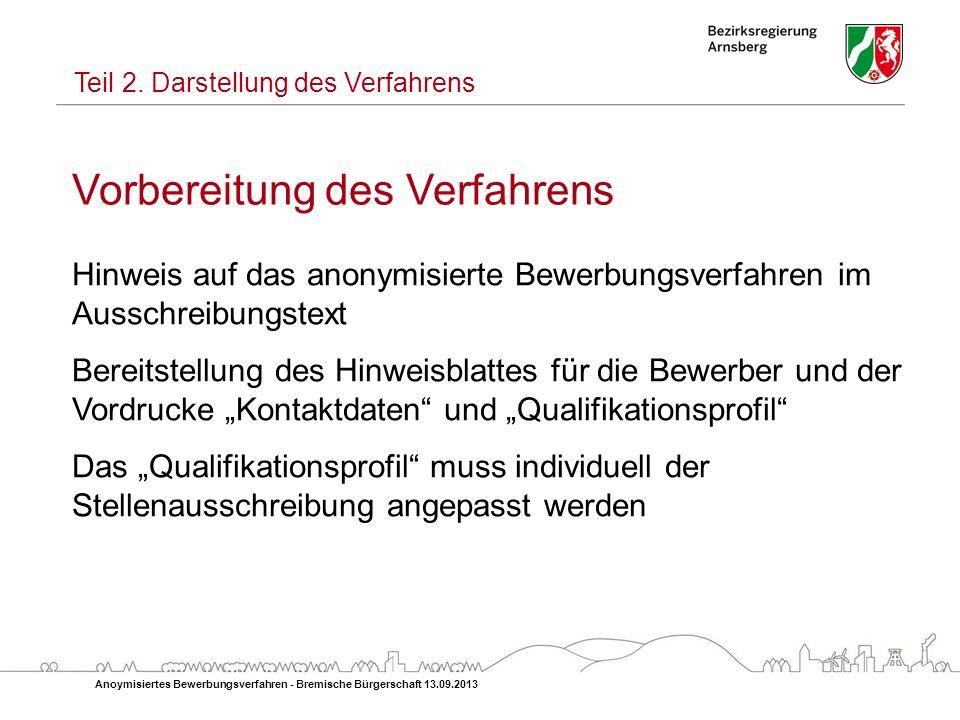 Vorbereitung des Verfahrens Hinweis auf das anonymisierte Bewerbungsverfahren im Ausschreibungstext Bereitstellung des Hinweisblattes für die Bewerber