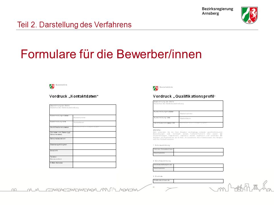 Formulare für die Bewerber/innen Teil 2. Darstellung des Verfahrens