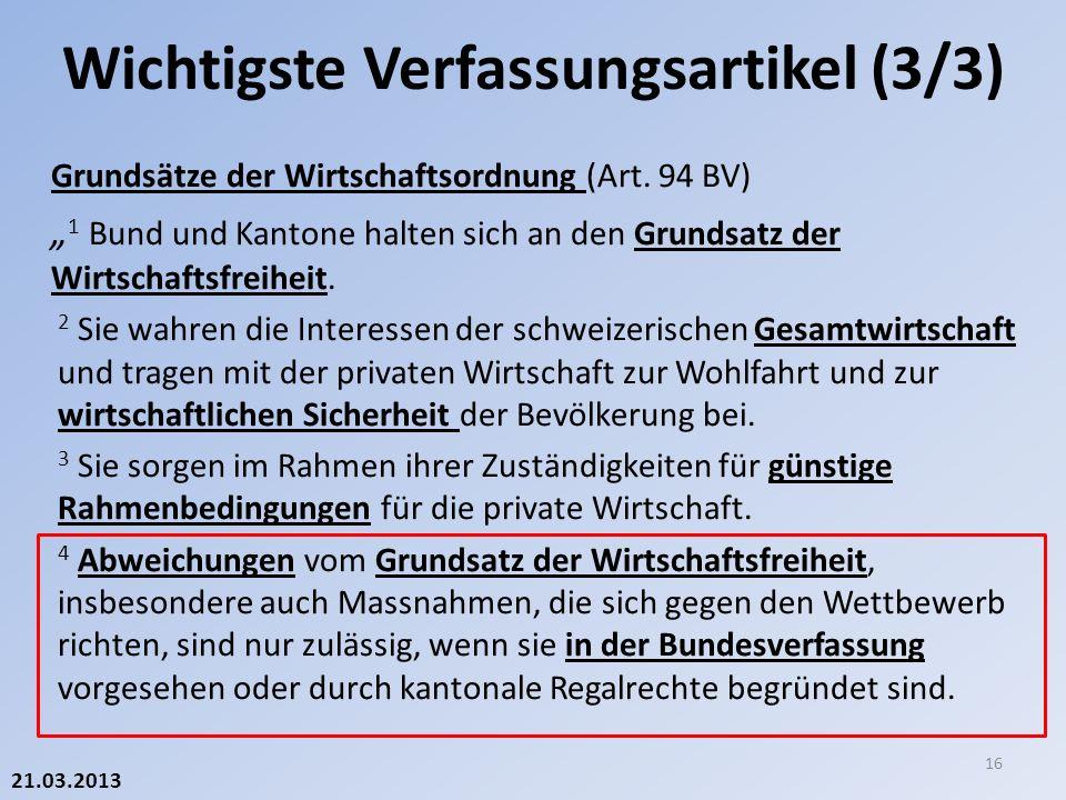 21.03.2013 Grundsätze der Wirtschaftsordnung (Art.