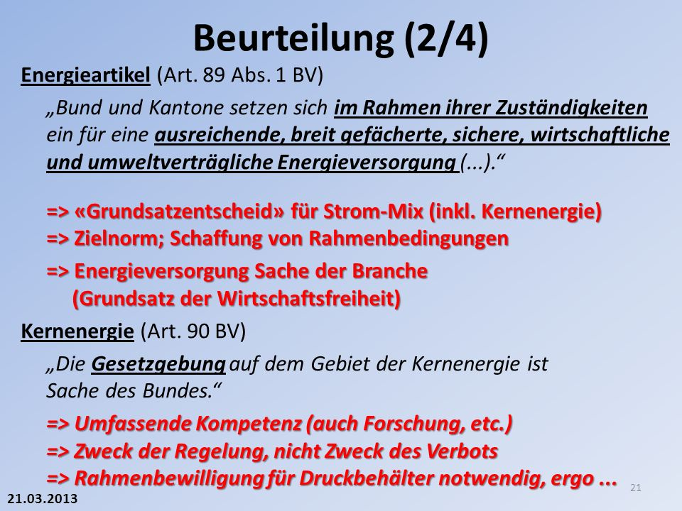 21.03.2013 Energieartikel (Art. 89 Abs.