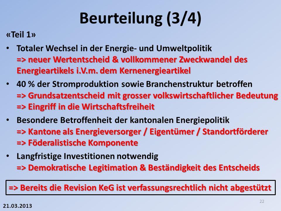 21.03.2013 «Teil 1» => neuer Wertentscheid & vollkommener Zweckwandel des Energieartikels i.V.m.