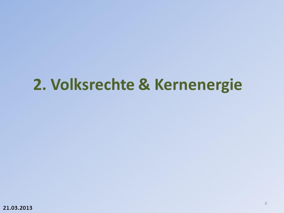 21.03.2013 WerWannWarumBesonderes BrancheKurz-, mittel- oder langfristig Sicherheit Wirtschaftlichkeit Eigene Politik Verantwortung Stromversorgung Kantone mit Beteiligungen Mittel- oder langfristig Eigentümerstrategie (primär über VR) Grundsätze des Privatrechts (OR für AG) ENSIKurz- oder Mittelfristig Sicherheit (objektiv / konkret) Direkt oder indirekt (Auflagen); internationale wissenschaftliche Standards Bundesrat/ UVEK Mittel- oder langfristig Entzug Betriebs- bewilligung (mit ENSI) falls objektive Gründe vorliegen (=> sonst SchaE) ParlamentLangfristig Keine neuen Rahmenbewilligungen Individuell-konkrete Entscheide Wer kann heute «aussteigen».