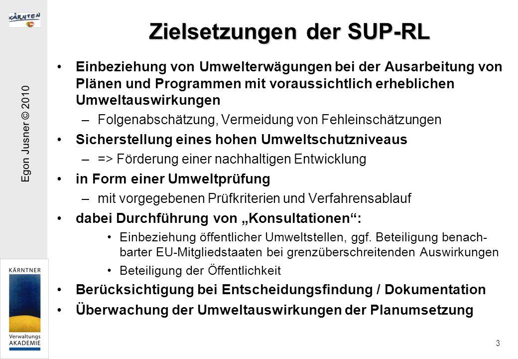 Egon Jusner © 2010 4 Planbegriff der SUP-RL Einer Umweltprüfung bedürfen alle Pläne und Programme, die voraussichtlich erhebliche Umweltauswirkungen haben (können) Pläne im Sinn der RL sind Akte –die von einer Behörde auf nationaler, regionaler oder lokaler Ebene ausgearbeitet und/oder angenommen werden oder von einer Behörde für die Annahme durch das Parlament oder die Regierung im Wege eines Gesetzgebungsverfahrens ausgearbeitet werden und –die auf Grund von Rechts- oder Verwaltungs- vorschriften erstellt werden müssen.