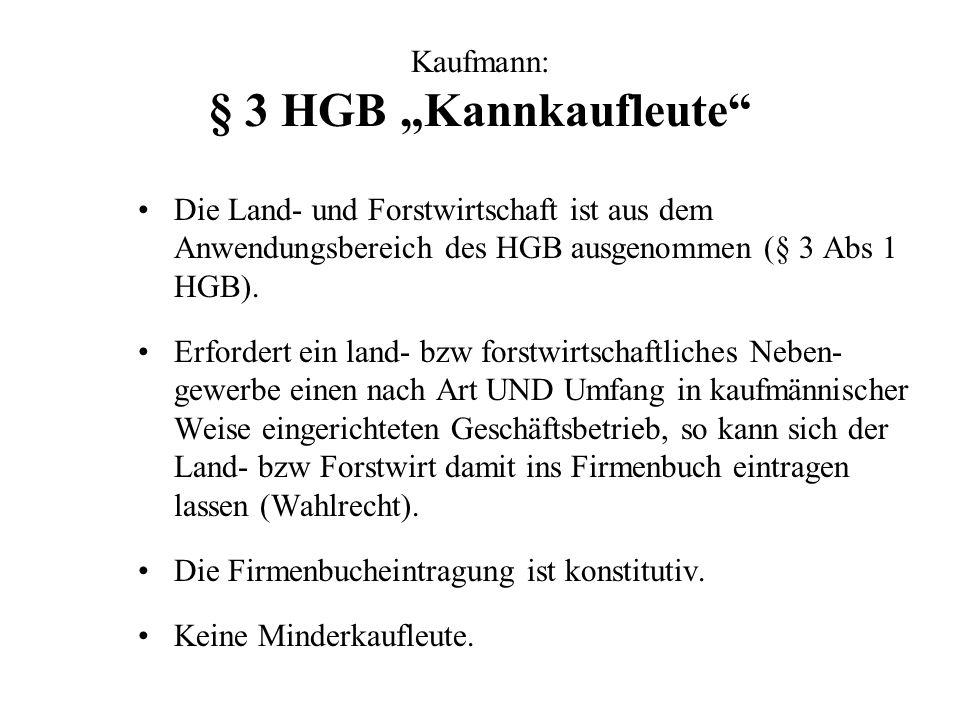 Kaufmann: § 3 HGB Kannkaufleute Die Land- und Forstwirtschaft ist aus dem Anwendungsbereich des HGB ausgenommen (§ 3 Abs 1 HGB). Erfordert ein land- b