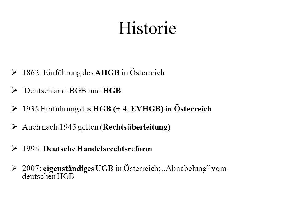 Historie 1862: Einführung des AHGB in Österreich Deutschland: BGB und HGB 1938 Einführung des HGB (+ 4. EVHGB) in Österreich Auch nach 1945 gelten (Re