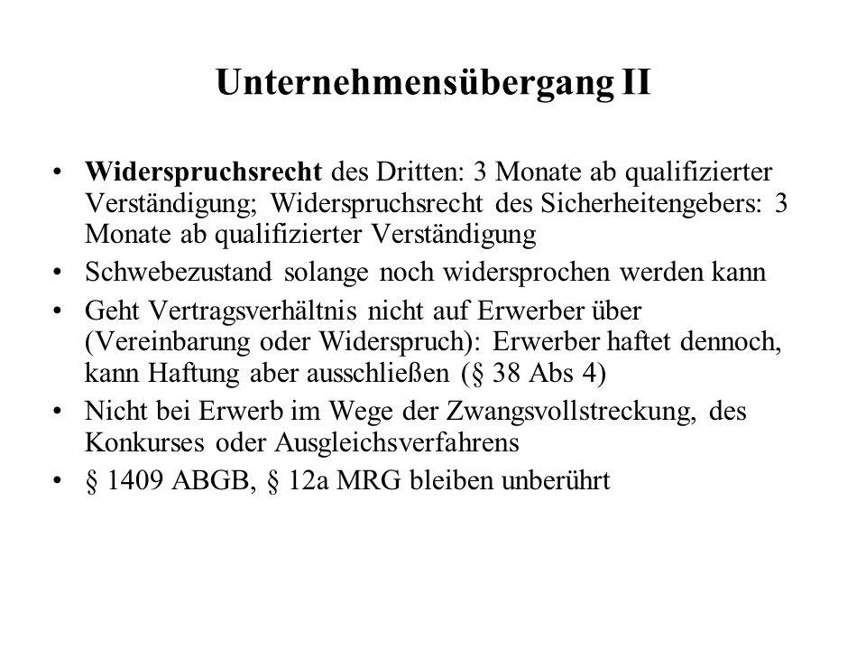 Unternehmensübergang II Widerspruchsrecht des Dritten: 3 Monate ab qualifizierter Verständigung; Widerspruchsrecht des Sicherheitengebers: 3 Monate ab