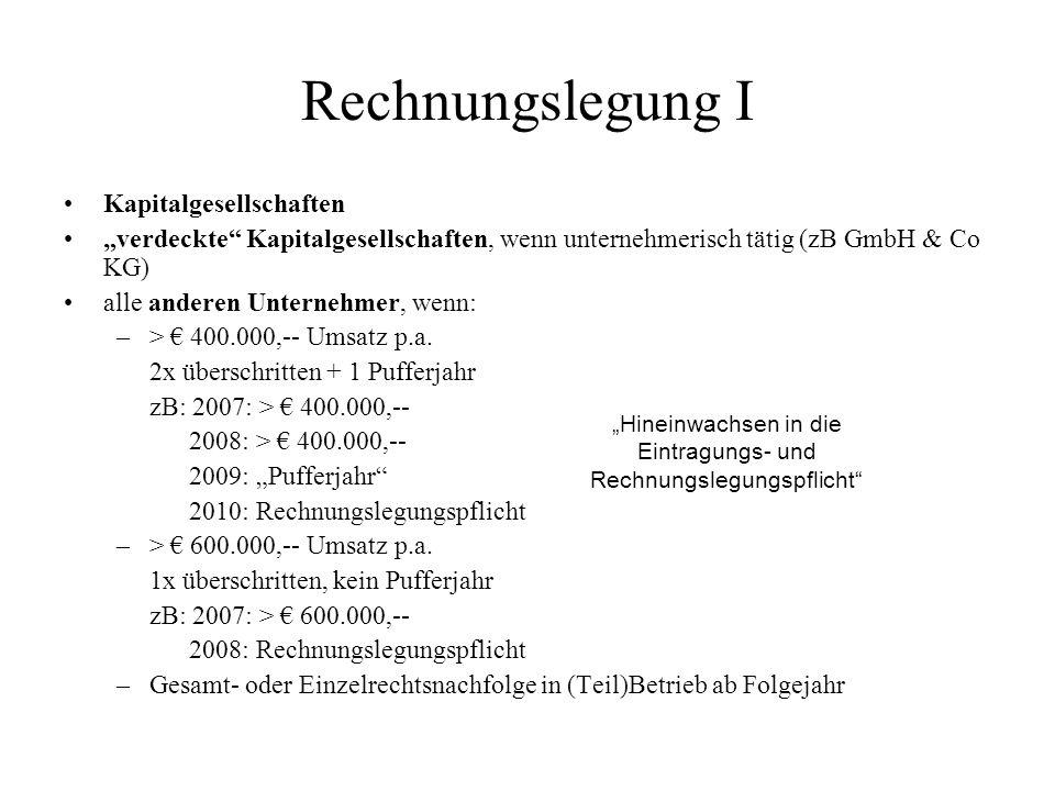 Rechnungslegung I Kapitalgesellschaften verdeckte Kapitalgesellschaften, wenn unternehmerisch tätig (zB GmbH & Co KG) alle anderen Unternehmer, wenn: