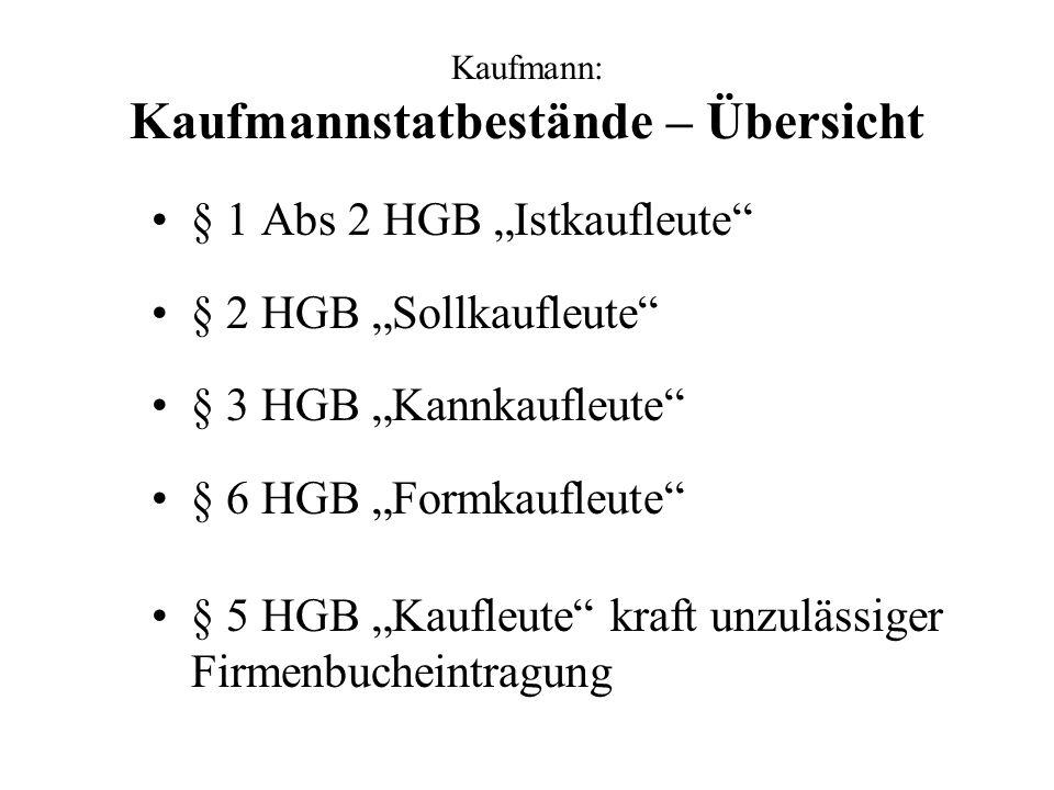 Kaufmann: § 1 Abs 2 HGB Istkaufleute (1) Taxative Aufzählung der 9 Grundhandelsgewerbe Das Betreiben eines Grundhandelsgewerbes macht den Betreiber automatisch zum Kaufmann.