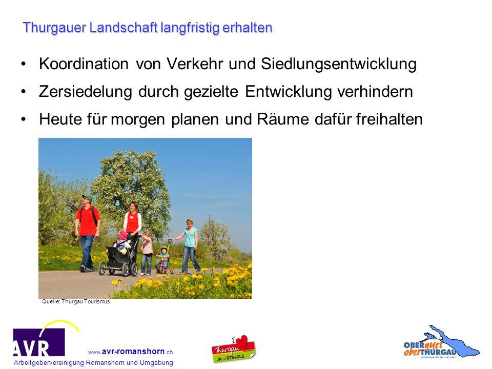 Arbeitgebervereinigung Romanshorn und Umgebung www. avr-romanshorn.ch Thurgauer Landschaft langfristig erhalten Koordination von Verkehr und Siedlungs