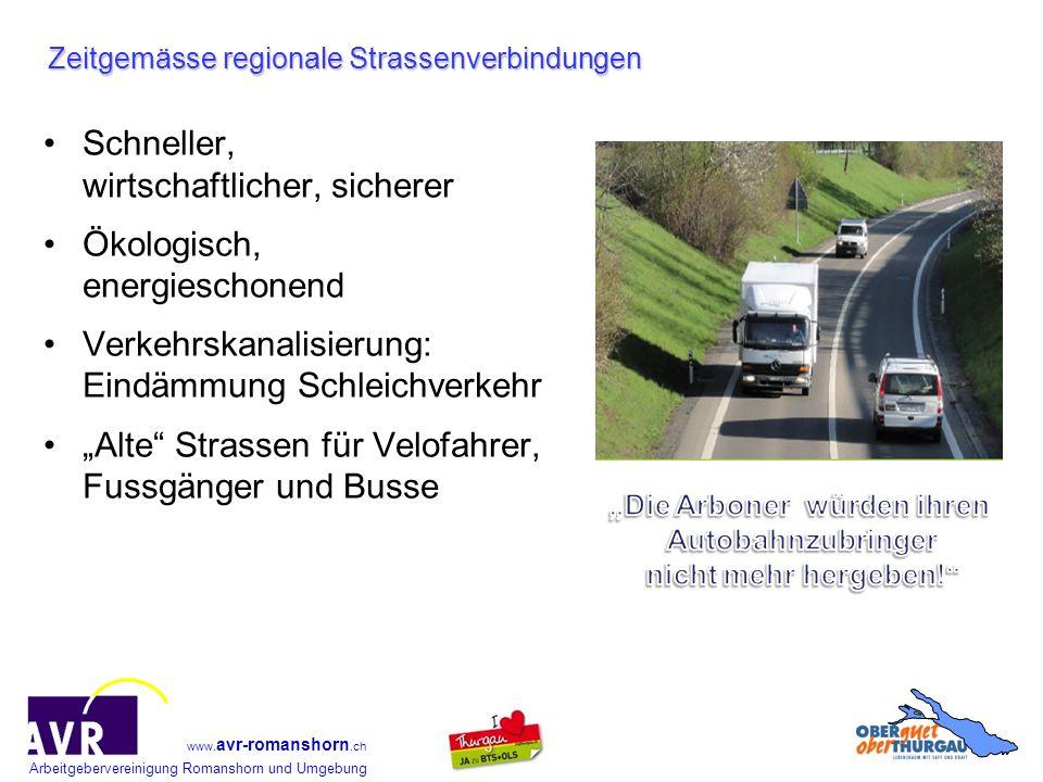 Arbeitgebervereinigung Romanshorn und Umgebung www. avr-romanshorn.ch Zeitgemässe regionale Strassenverbindungen Schneller, wirtschaftlicher, sicherer