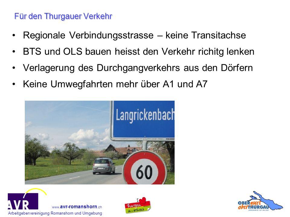Arbeitgebervereinigung Romanshorn und Umgebung www. avr-romanshorn.ch Für den Thurgauer Verkehr Regionale Verbindungsstrasse – keine Transitachse BTS