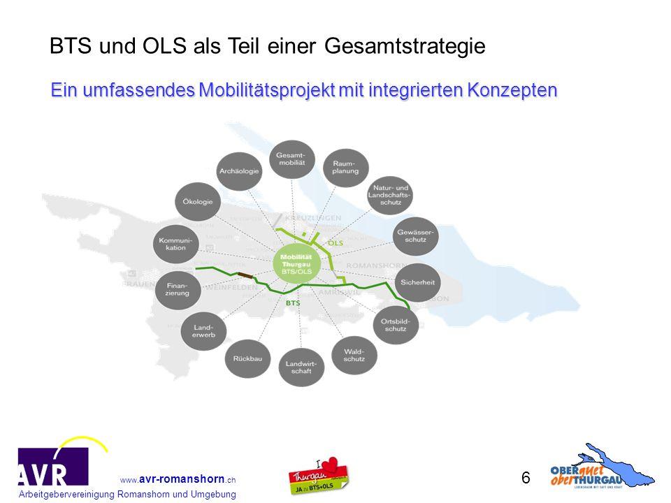 Arbeitgebervereinigung Romanshorn und Umgebung www. avr-romanshorn.ch 6 Ein umfassendes Mobilitätsprojekt mit integrierten Konzepten BTS und OLS als T