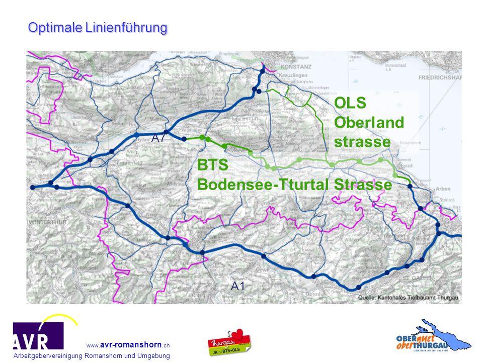 Arbeitgebervereinigung Romanshorn und Umgebung www. avr-romanshorn.ch Optimale Linienführung A7 A1 BTS Bodensee-Tturtal Strasse OLS Oberland strasse