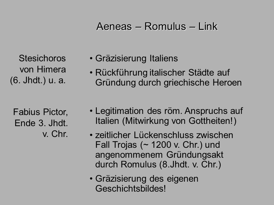 Sagen3 literatuhist. Aeneas – Romulus – Link Stesichoros von Himera (6. Jhdt.) u. a. Fabius Pictor, Ende 3. Jhdt. v. Chr. Gräzisierung Italiens Rückfü