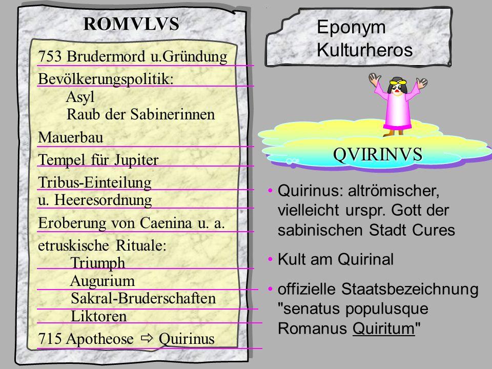 König1Romulus Rom und seine 7 Könige... ROMVLVS sicher kein punktueller Gründungsakt schon gar nicht nach etruskischem Vorbild Siedlungsspuren 10. Jhd