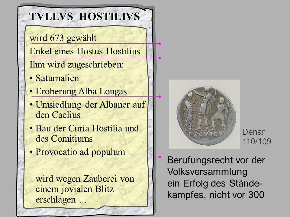 König3Hostilius TVLLVS HOSTILIVS wird 673 gewählt Enkel eines Hostus Hostilius Ihm wird zugeschrieben: Saturnalien Eroberung Alba Longas Umsiedlung de