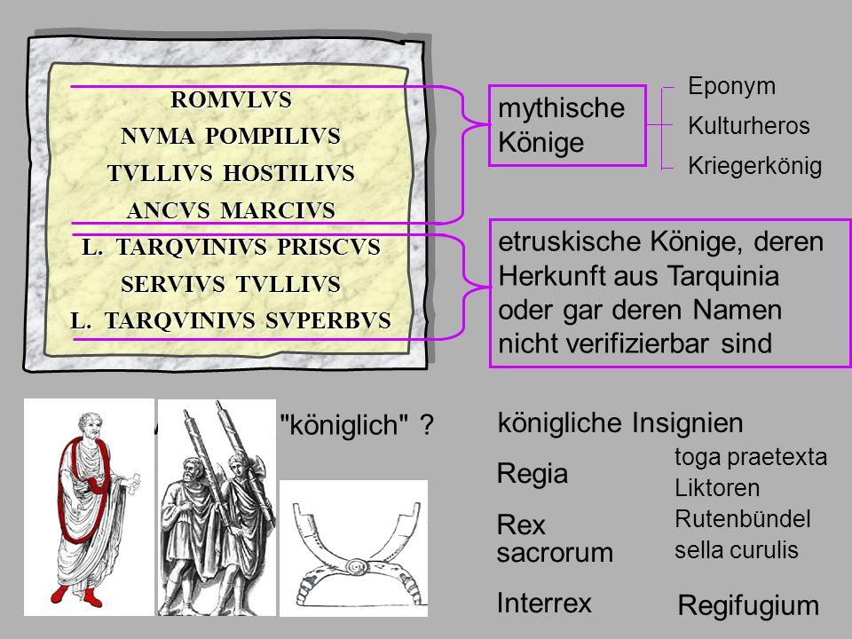 Regia Rex sacrorum Interrex Ende Könige ROMVLVS NVMA POMPILIVS TVLLIVS HOSTILIVS ANCVS MARCIVS L. TARQVINIVS PRISCVS SERVIVS TVLLIVS L. TARQVINIVS SVP
