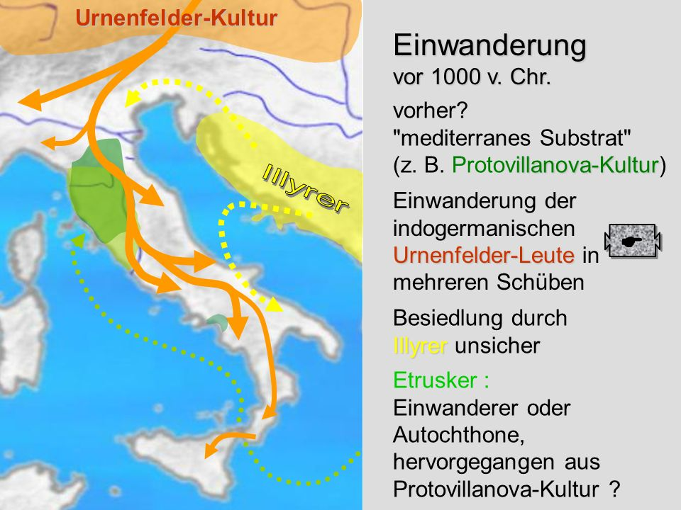 EinwanderungUrnenfelder-Kultur Einwanderung vor 1000 v. Chr. illanova-Kultur vorher?