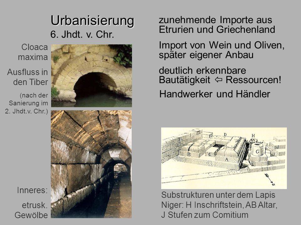 6.Jhdt. ökonom zunehmende Importe aus Etrurien und Griechenland Import von Wein und Oliven, später eigener Anbau deutlich erkennbare Bautätigkeit Ress