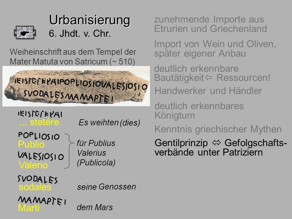 6.Jhdt. Adel zunehmende Importe aus Etrurien und Griechenland Import von Wein und Oliven, später eigener Anbau deutlich erkennbare Bautätigkeit Ressou