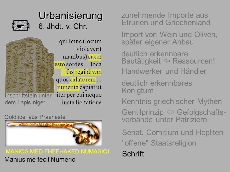 6.Jhdt. Schrift Urbanisierung Urbanisierung 6. Jhdt. v. Chr. zunehmende Importe aus Etrurien und Griechenland Import von Wein und Oliven, später eigen