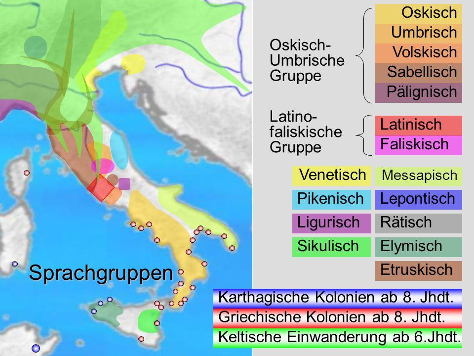 Sprachgruppen Venetisch Oskisch Umbrisch Volskisch Sabellisch Pälignisch Oskisch- Umbrische Gruppe Latinisch Faliskisch Latino- faliskische Gruppe Mes