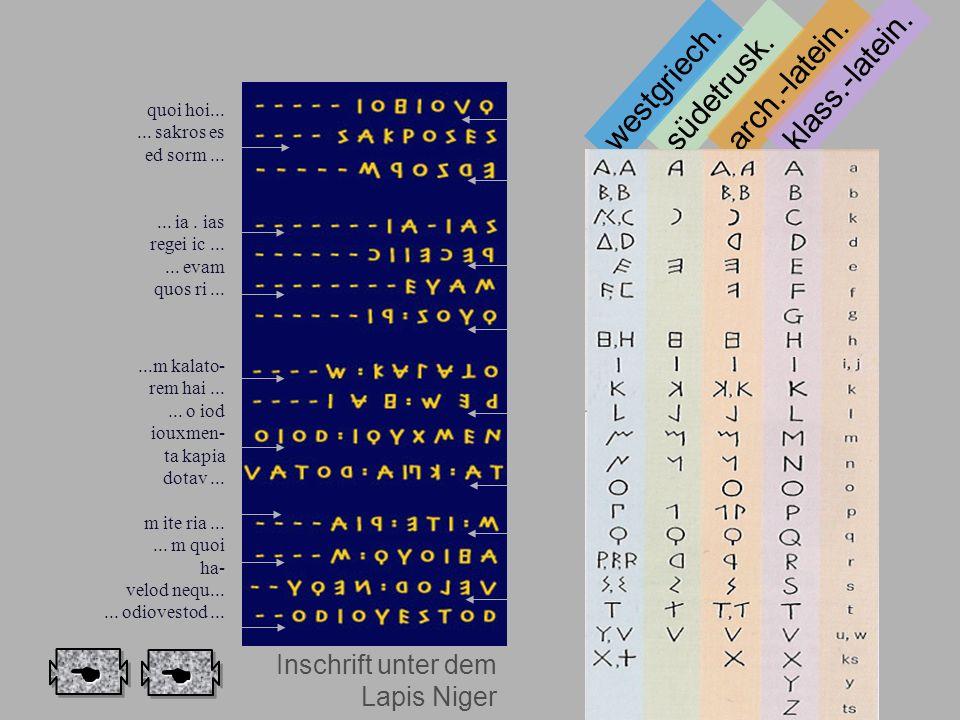 Anm. Schrift südetrusk. westgriech. arch.-latein. klass.-latein. Inschrift unter dem Lapis Niger quoi hoi...... sakros es ed sorm...... ia. ias regei
