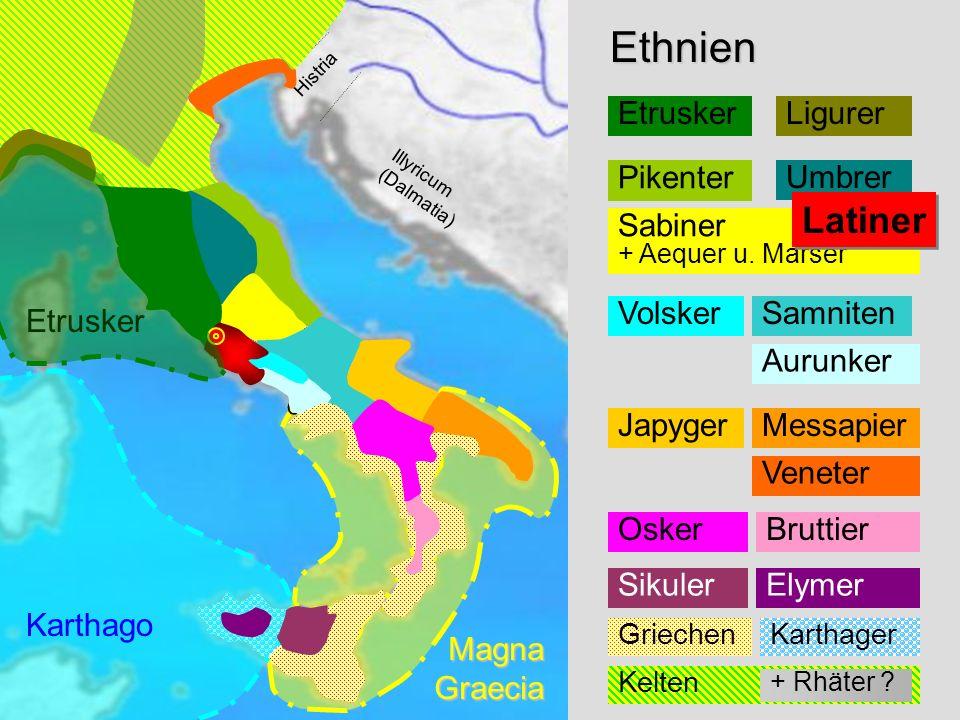 Ethnien Transpadana Venetia Histria Liguria Illyricum (Dalmatia) Aemilia Etruria (Tuscia) Umbria Sabini Picenum Samnium Apulia Calabria Lucania Brutti