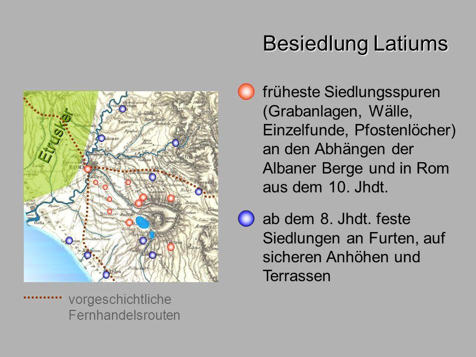 Besiedl.Rom1 1 km Quirinal Viminal Esquilin Caelius Aventin Palatin Kapitol Cispius Oppius Velia Arx Über- schwemm- ungsgebiet Velabro Besiedlung Roms Gegebenheiten 7 Haupthügel (~50 m) mit Nebenkuppen Überschwemmungs- gebiet Marsfeld Sumpf und Velabro vorgeschichtliche Fernhandelsrouten Furt über den Tiber Tiber bis hierher schiffbar N genügend Wasser und Weideland ursprungl.