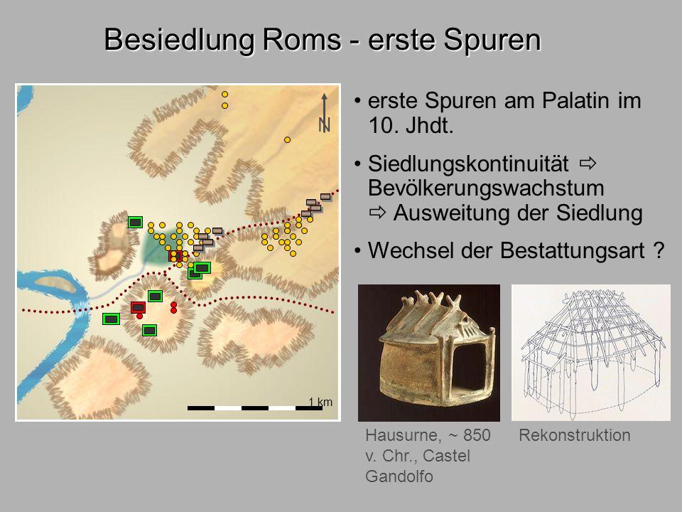 Besiedl.Rom3 1 km Besiedlung Roms - Stadtwerdung N Trockenlegung durch Cloaca maxima Anlage von befestigten Straßen und Plätzen Via sacra Velabrum Voraussetzungen .