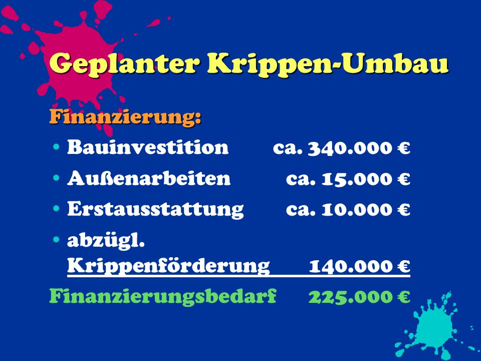 Geplanter Krippen-Umbau Finanzierung: Bauinvestitionca.
