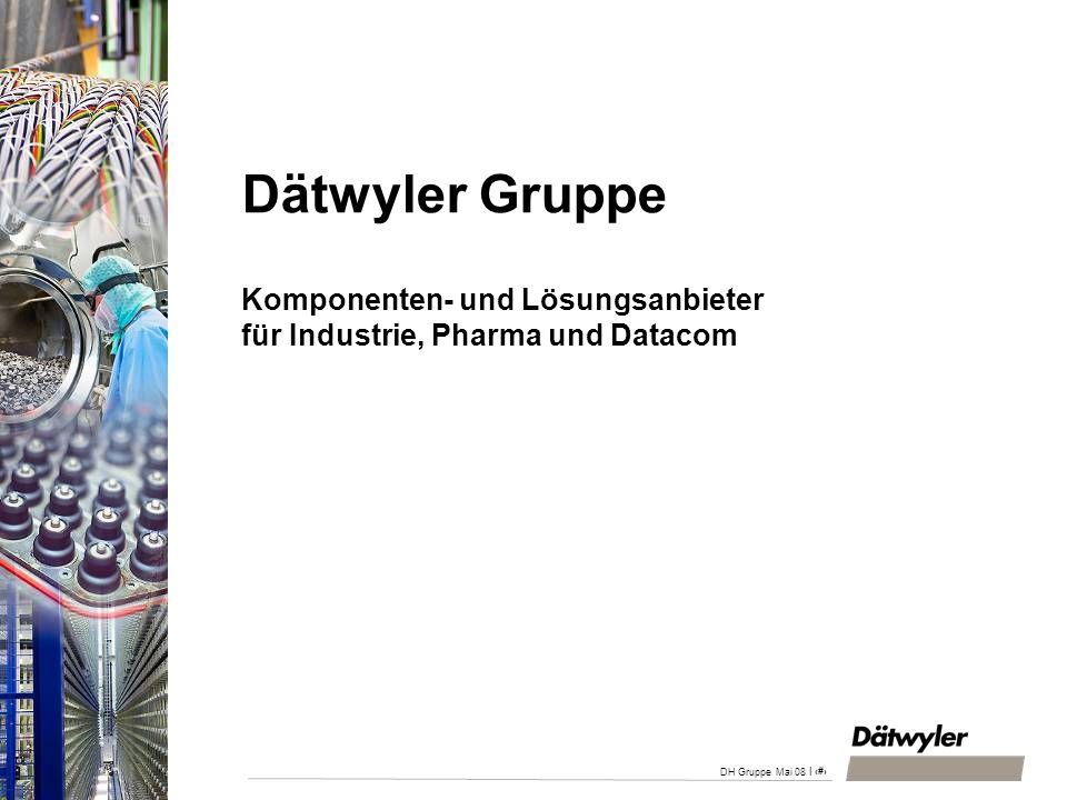 | 1 DH Gruppe Mai 08 Dätwyler Gruppe Komponenten- und Lösungsanbieter für Industrie, Pharma und Datacom
