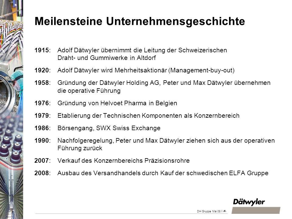 | 11 DH Gruppe Mai 08 Meilensteine Unternehmensgeschichte 1915: Adolf Dätwyler übernimmt die Leitung der Schweizerischen Draht- und Gummiwerke in Altd