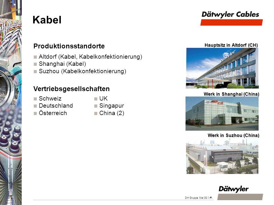 | 16 DH Gruppe Mai 08 Kabel Produktionsstandorte Altdorf (Kabel, Kabelkonfektionierung) Shanghai (Kabel) Suzhou (Kabelkonfektionierung) Vertriebsgesel