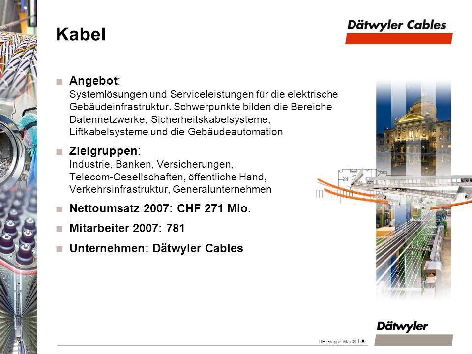 | 17 DH Gruppe Mai 08 Kabel Angebot: Systemlösungen und Serviceleistungen für die elektrische Gebäudeinfrastruktur. Schwerpunkte bilden die Bereiche D