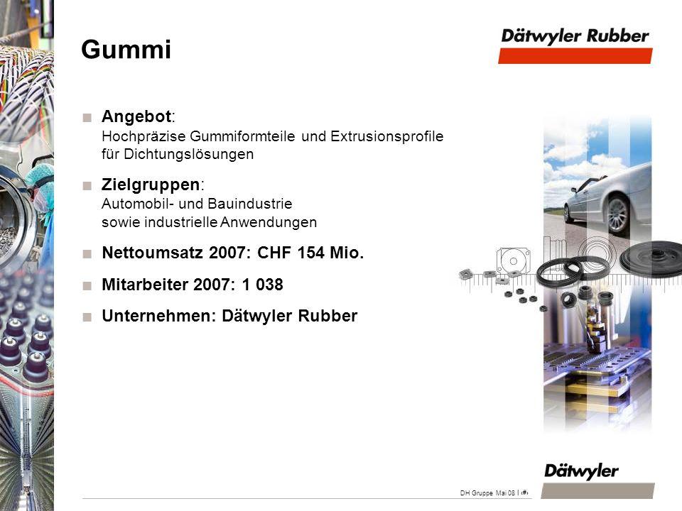 | 21 DH Gruppe Mai 08 Gummi Angebot: Hochpräzise Gummiformteile und Extrusionsprofile für Dichtungslösungen Zielgruppen: Automobil- und Bauindustrie s