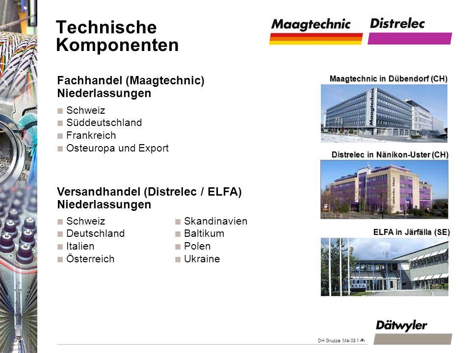 | 28 DH Gruppe Mai 08 Fachhandel (Maagtechnic) Niederlassungen Schweiz Süddeutschland Frankreich Osteuropa und Export Versandhandel (Distrelec / ELFA)