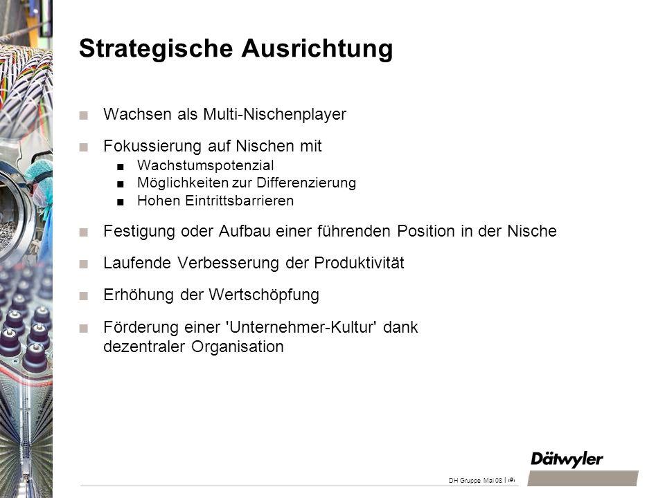 | 3 DH Gruppe Mai 08 Strategische Ausrichtung Wachsen als Multi-Nischenplayer Fokussierung auf Nischen mit Wachstumspotenzial Möglichkeiten zur Differ