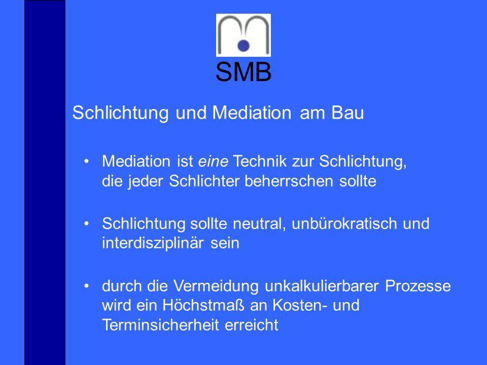 SMB www.smbau.de Mediation ist eine Technik zur Schlichtung, die jeder Schlichter beherrschen sollte Schlichtung sollte neutral, unbürokratisch und in