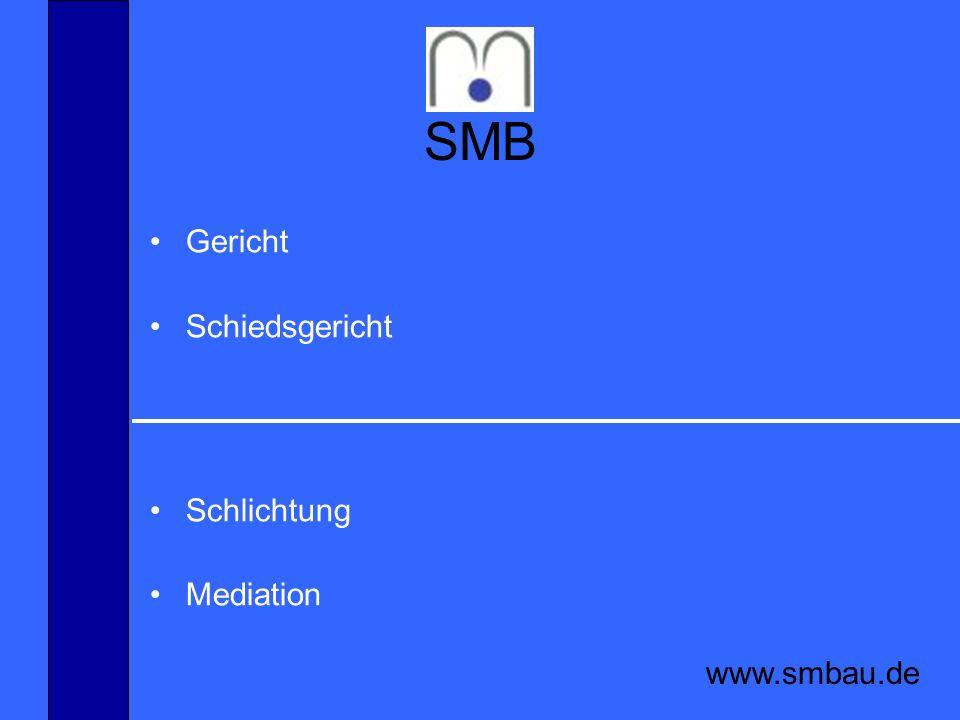 SMB www.smbau.de Schlichtung Schlichtungsgespräch je nach Vertrag Sachverständigengutachten/ Bewertung Vertrag / Einigung Schlichtungsvereinbarung Schlichtungsvorschlag