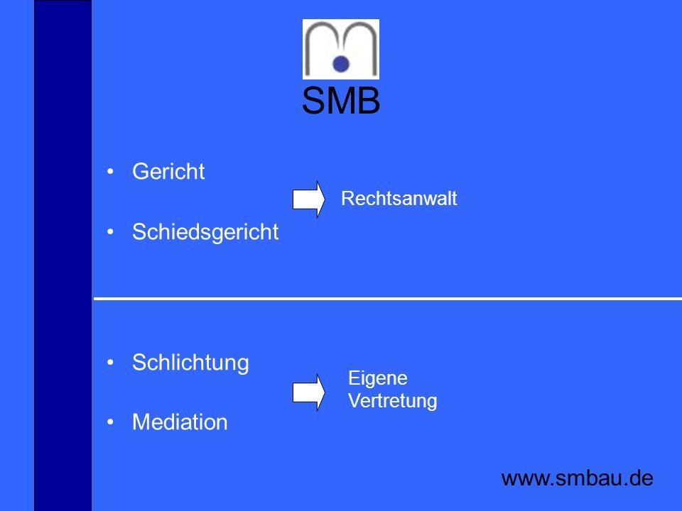 SMB www.smbau.de Mediation Mediationsvereinbarung
