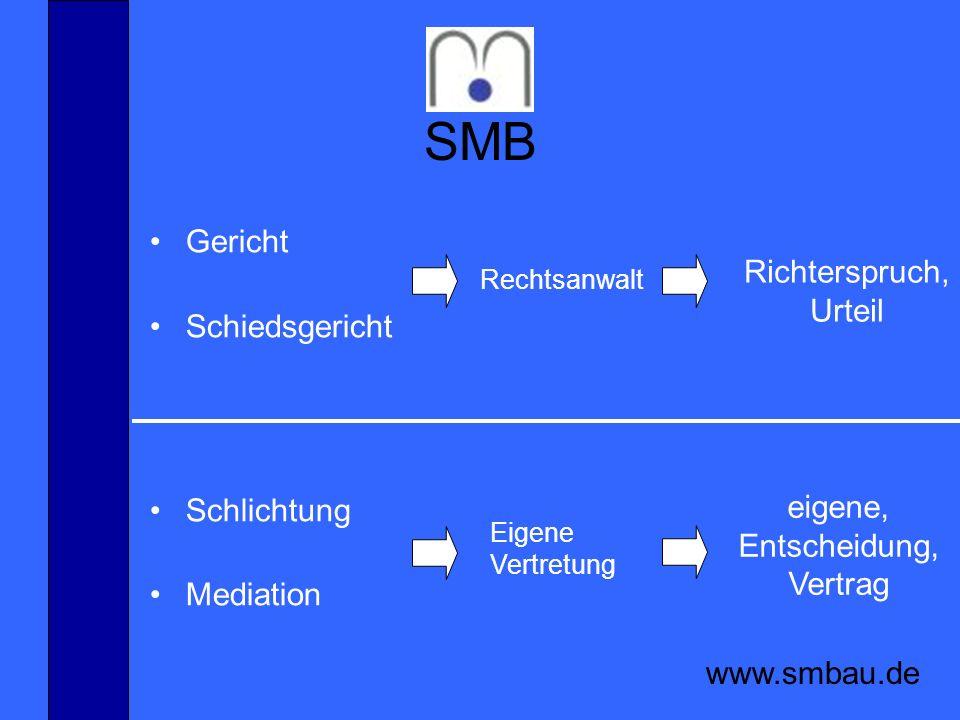 SMB www.smbau.de Gericht Schiedsgericht Schlichtung Mediation Richterspruch, Urteil eigene, Entscheidung, Vertrag Rechtsanwalt Eigene Vertretung