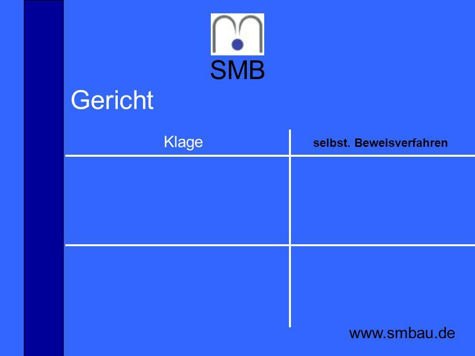SMB www.smbau.de Gericht Klage selbst. Beweisverfahren