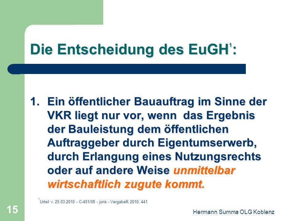 Hermann Summa OLG Koblenz 14 Reaktion des OLG Düsseldorf: Vorlage zum EuGH 5.Kann eine Baukonzession auch dann angenommen werden, wenn der Konzessionä