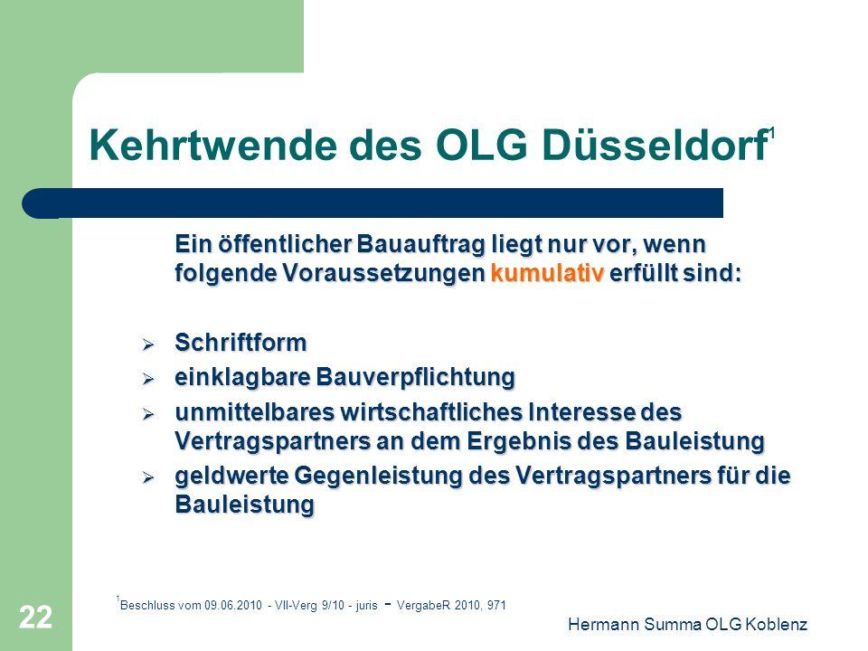 Hermann Summa OLG Koblenz 21 Fazit: Die Ahlhorn-Rechtssprechung ist eine Episode in der Geschichte der nationalen Vergaberechtsprechung Die Ahlhorn-Re