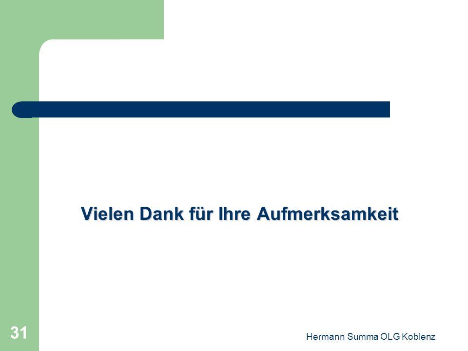 Hermann Summa OLG Koblenz 30 Ausblick: Es könnte sich eines Tages als Fehler herausstellen, dass der Gesetzgeber das Erfordernis, dass die Leistung de